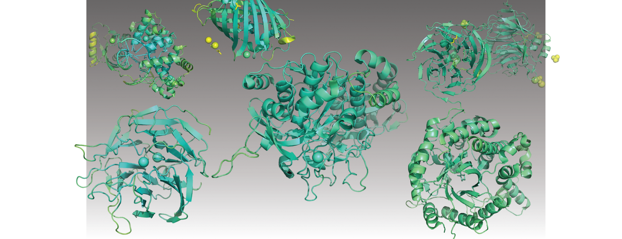 Pymol rendered published enzymes